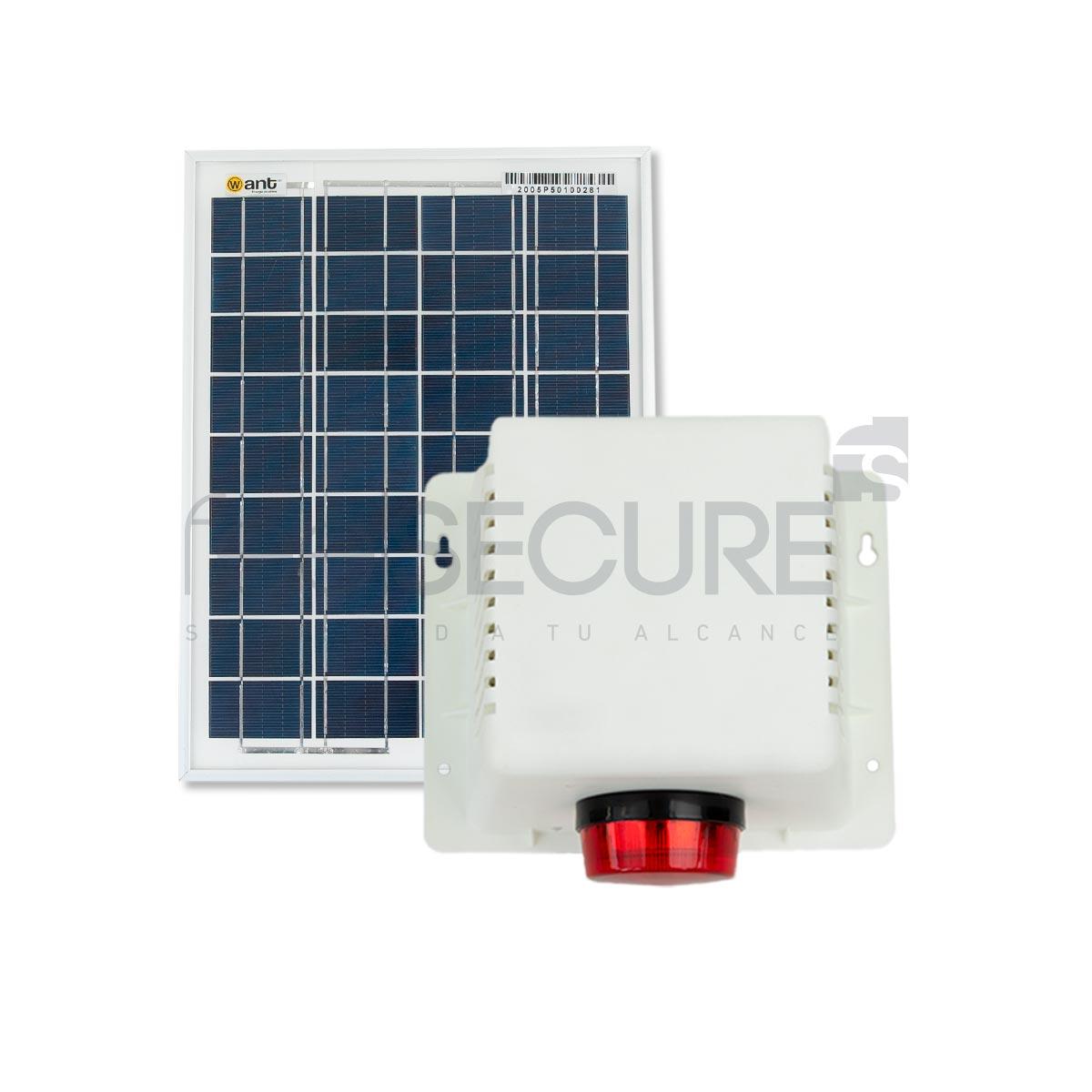 Alarma 20w gabinete plástico + panel solar